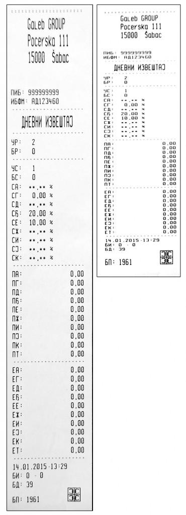 fiskalni racun - kondenzovano, Uporedni prikaz